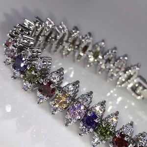 White Gold Plated Rainbow Created Topaz & Lab Diamond Tennis Bracelet Bridal