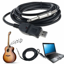 USB 3M/10Ft Guitar Bass 1/4'' USB TO 6.5mm Jack Link Connection Instrument Cable
