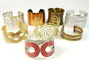 Wide Cuff Bracelet Lot of 8 Large Statement Bracelets Copper Enamel Brass Etc