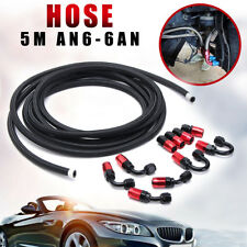 AN6 -6AN Nylon Stainless Steel Braided Oil Fuel Line + Fitting Hose 16.4FT Kit