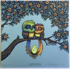 Marq Spusta Two Birds and Their Egg Closed Eyes Blue Variant Full Size IN HAND