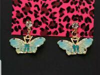 New Betsey Johnson Lovely Enamel Blue Butterfly Crystal Women Stand Earrings