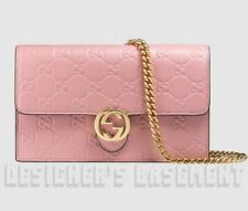 GUCCI pink GUCCISSIMA Leather INTERLOCKING G Mini CHAIN bag wallet NWT Authentic