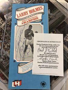 LARRY HOLMES SIGNED Biography Brochure Vintage EASTON ASSASIN Coa
