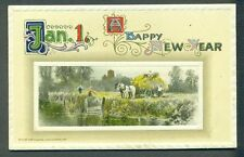 WINSCH Horses Workers Hay Wagon Jan 1 New Year Vintage Postcard