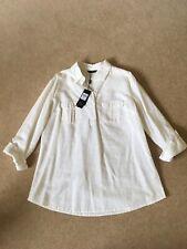 M&Co Ladies White Shirt Top Linen/ Cotton Size 10 BNWT