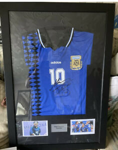 diego maradona signed shirt framed inc COA