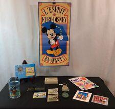Vintage, 13 Piece Euro Disney Souvenir Lot: Poster, Button Pins, Stickers & More