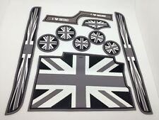 Black Grey Union Jack Flag Coaster Cup Holders Side Door Mat For MINI Cooper F56