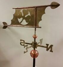 Beautiful copper custom clover leaf weathervane, COMPLETE SETUP + mount