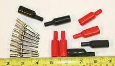 8 vintage Mueller 60 10 amp nickel alligator clips & insulators for 1 price