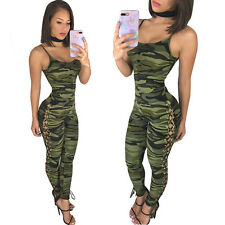 New camouflage military lace up leg jumpsuit club wear casual wear size UK 12
