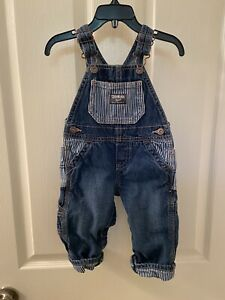 Oshkosh B'gosh Overalls Railroad Striped Detail Vestbak Baby Boys Size 9 Months