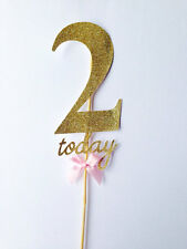 Large Gold Glitter Number 2 Two today cake topper personalised