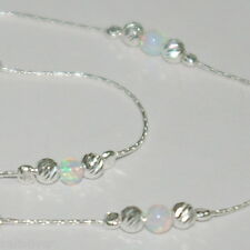 White Opal Beads Anklet - Your Size Sterling Silver 925 Chain, Laser Cut and