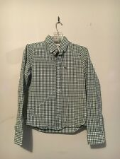 ABERCROMBIE FITCH MUSCLE MEN 100% Cotton LIME GREEN CHECK SHIRT SIZE S