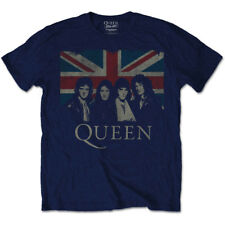 Official Queen Mens Music T-shirt Navy With Union Jack Vintage Style Rock Pop XL
