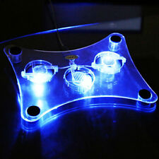 """USB Blue LED Light 3-Fan Cooler Cooling Pad Stand for Laptop PC Notebook 15"""" New"""