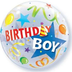 """Birthday Boy Clear Patterned Balloon Plastic Bubble 22"""""""