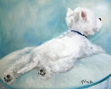 SPARROW Westie West Highland White Terrier Dog Art Oil Painting PRINT MSSMITH