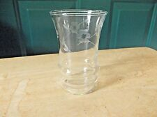 Depression Era Clear Glass with Ringed Bottom and Etched Floral Design