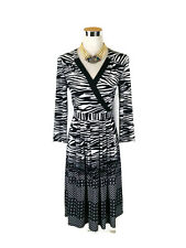 LEONA EDMISTON Dress - Vintage Zebra Geometric Wrap Black White Stretch - 12/M