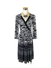 NWT LEONA EDMISTON Dress - Vintage Zebra Geometric Wrap Black White Stretch - 10