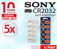 5 Brand New SONY CR2032 Button Cell 3v Lithium battery GENUINE LONG EXPIRY 2027