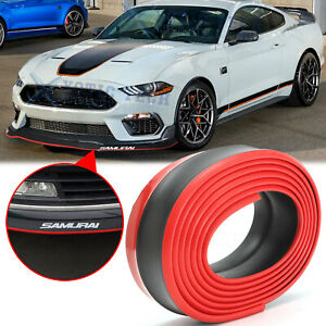 Black Red 8FT Samurai Bumper Lip Universal Splitter Spoiler Car Body Kit Trim