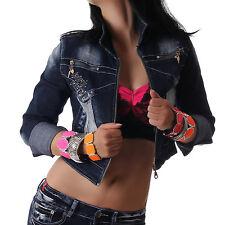 CRAZY AGE Damen Jeansjacke Jacke kurz Jeans bauchfrei langarm blau Neu S M L XL