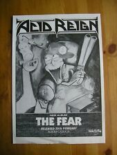 ACID REIGN - THE FEAR - ADVERT - 20.5 x 29.5cm.