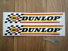 DUNLOP Classic Check & Stripes 9in Pair Car & Bike STICKERS Race Rally Tyre Tire