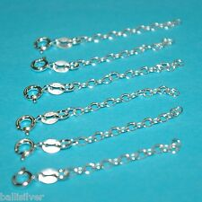 """6 pieces Sterling Silver 925 2"""" CHAIN EXTENDERS with Spring Ring Clasp Lot"""