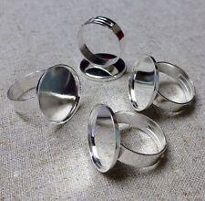 Silver tone bague composant lisse setting base - 5 pcs