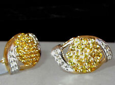 9k gold yellow sapphire and diamond earrings