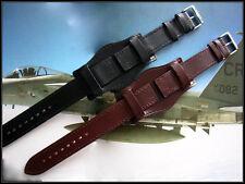 12mm Black Open End BUND watchband Pilot Military IW SUISSE 10-14-18-19-20-22-24