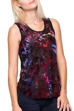 Desigual women's sheer tank top with velvet onlay/sleeveless blouse XL