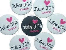 10 x JGA Buttons groß 50mm Junggesellinnenabschied Feier Name Hochzeit Herz
