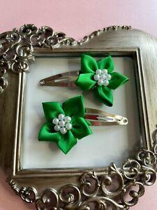 girls hair clips snap clips slides bendies flower hair clip apple  green flowers