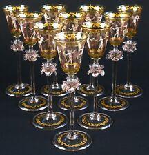 """10 Vintage Venetian Hand-Painted """"Dancing Ladies"""" Cordial Glasses"""