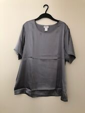 CW Classics Women's Satin Shell Blouse Silver Size 2X New