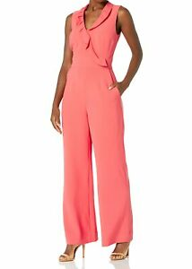 Tahari by ASL Womens Jumpsuit Coral Pink US 10 Collared Ruffle Front $158 #000