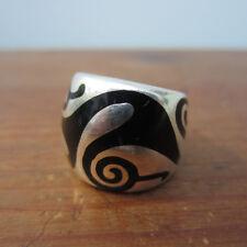 Flli Menegatti Silver 925 black enamel swirl band ring modernist size 7