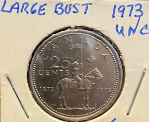 1973 Rare Canadian  Large Bust 25 Cent  Coin, Uncirculated