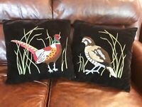 (2) Vintage Black Velvet Pillow - Crewel Needlework Embroidery Quail & Pheasant