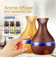 Air Humidifier Aroma Essential Oil Wood Grain LED Lights aroma diffuser for home