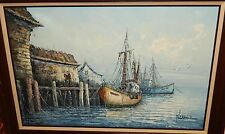 FLORENCE FISHING BOATS AT DOCK HUGE ORIGINAL OIL CANVAS SEASCAPE PAINTING