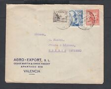 SPAIN 1943 WWII CENSORED COVER VALENCIA TO GENEVA SWITZERLAND