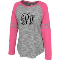 Personalized Ladies Vine Initials Monogram Space Dye Raglan Women's T-Shirt