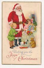Vintage Christmas postcard of Santa, kids, and toys for good boys and girls